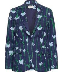 kiehtoa viivakukka jacket blazer kavaj blå marimekko