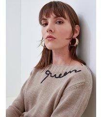 motivi maglia con scollo ampio e scritta lurex donna beige
