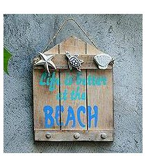 wood coat rack, 'life is better at the beach' (indonesia)