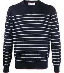brunello cucinelli striped v-neck pullover - blue