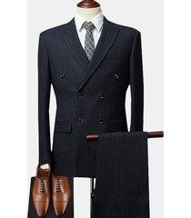 abito da uomo a righe doppio petto con colletto tacca da uomo