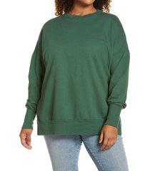 plus size women's caslon side slit tunic sweatshirt, size 2x - green