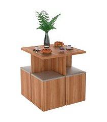 conjunto de mesa de cozinha com 4 lugares ayla corino castanho e bege