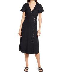 women's madewell button midi dress, size 00 - black