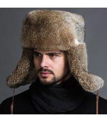 uomo invernale caldo pesante orecchi pelliccia sintetica coniglio lei feng cappello outdoor casual cappello