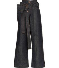 delada belted wide-leg jeans - blue