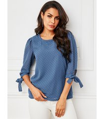 yoins azul anudado diseño gasa redonda cuello blusa de media manga