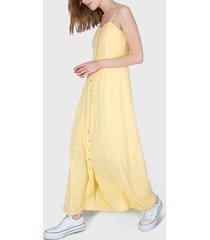vestido io largo lino amarillo - calce holgado