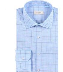 camicia da uomo su misura, albini, azzurra principe di galles, primavera estate | lanieri