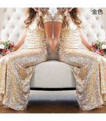 new women's backless sequins floor length evening party dress sv48