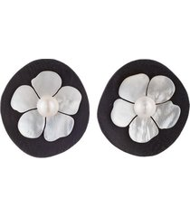 acacia wood clip earrings with mother of pearl, women's, white, josie natori