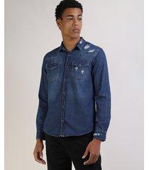 camisa jeans masculina tradicional destroyed com bolsos manga longa azul escuro