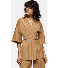 *camel pinstripe wrap shirt by topshop boutique - camel