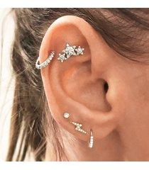 5 pezzi orecchini di cristallo stelle di moda di cristallo bohemien strass geometrici orecchini in argento per le donne