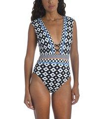 women's trina turk onyx ikat one-piece swimsuit, size 14 - black