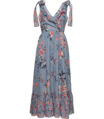 cecile sheer v neck maxi dress maxi dress galajurk blauw french connection