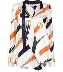 monse belt print draped blouse - neutrals