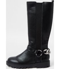 river island girls black bling chain boots