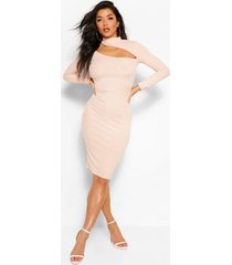 cut out high neck bodycon midi dress, nude