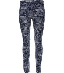 leggings estampado flores y cuadros color azul, talla l