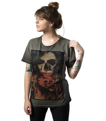 camiseta caveira skull lab love skull cinza
