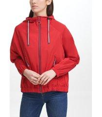 tommy hilfiger women's iconic sporty hooded windbreaker coat