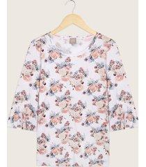 camiseta manga 3/4 cuello redondo estampada-14