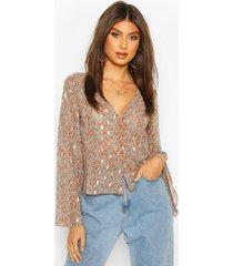 metallic paisley button through blouse, terracotta