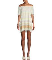 embroidered off-the-shoulder cotton blend shift dress
