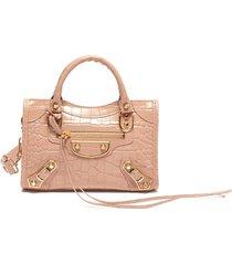 'mini city aj' croc embossed leather shoulder bag