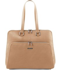 tuscany leather tl141630 lucca - borsa business tl smart in pelle morbida per donna champagne
