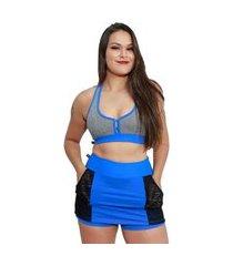 shorts saia fitness corpusfit life com bolso - azul e preto