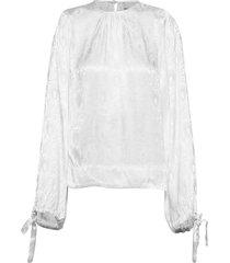 jaquard blouse blouse lange mouwen wit by ti mo