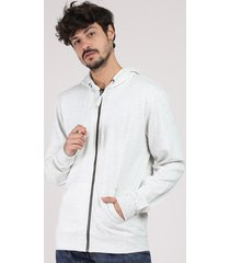 blusão masculino básico em moletom com capuz e bolso cinza mescla claro