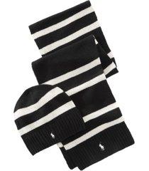 polo ralph lauren men's rugby stripe hat & scarf set