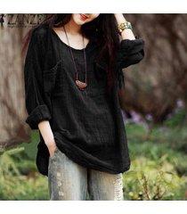 zanzea nueva llegada camisa blusas femininas otoño mujeres blusas flojas ocasionales de las tapas del algodón del cuello de o manga larga camisas más del tamaño negro -negro