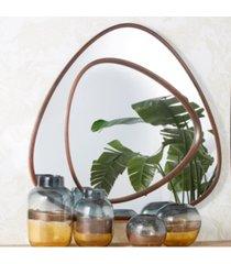 "natural beech wood frame 39"" trapizoid wall mirror - beech wood/glass/mdf"