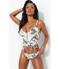 bloemen brazilian bikini broekje met v-taille, white