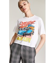 junk food cotton miller high life-graphic cropped t-shirt
