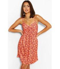 bloemenprint swing jurk met geplooide buste, koraal