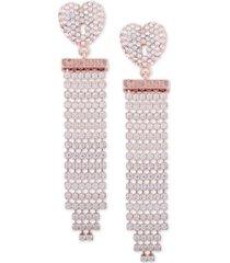 guess gold-tone crystal heart & fringe drop earrings