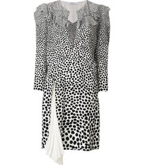 givenchy leopard print split neck dress - white
