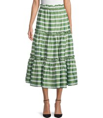 lisa marie fernandez women's striped ruffle peasant skirt - green - size l