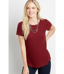maurices womens 24/7 solid waffle knit crew neck classic tee red