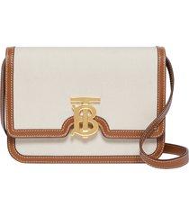 burberry small tb monogram canvas shoulder bag - beige