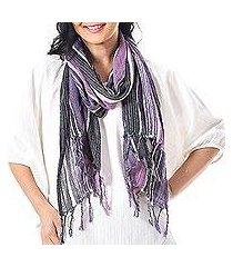 hand woven cotton scarf, 'bangkok stripe in purple' (thailand)