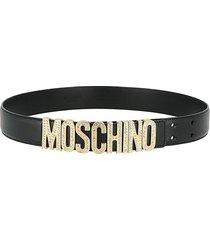 moschino women's embellished logo leather belt - black - size 85 (m)