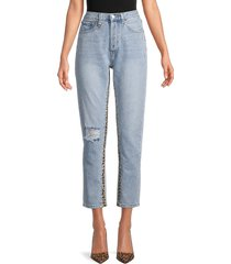neon blonde women's high-rise distressed jeans - blues - size 28 (4-6)
