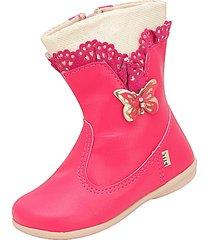 bota babado com borboletas plis calçados pink