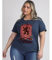 blusa feminina plus size harry potter grifinória manga curta decote redondo azul marinho